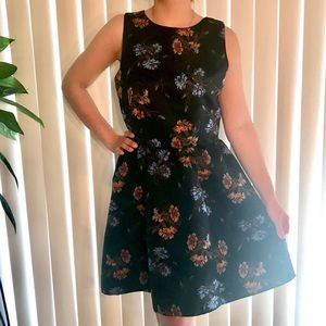 Zara Basic Navy Floral A-line Dress